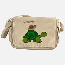 Snail on Turtle Messenger Bag