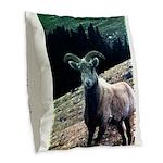 Mountain Sheep Burlap Throw Pillow