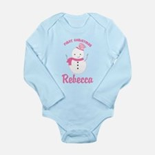 1st Christmas Snowman Personalized Body Suit