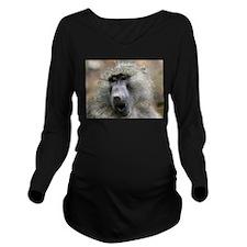 Olive Baboon Long Sleeve Maternity T-Shirt