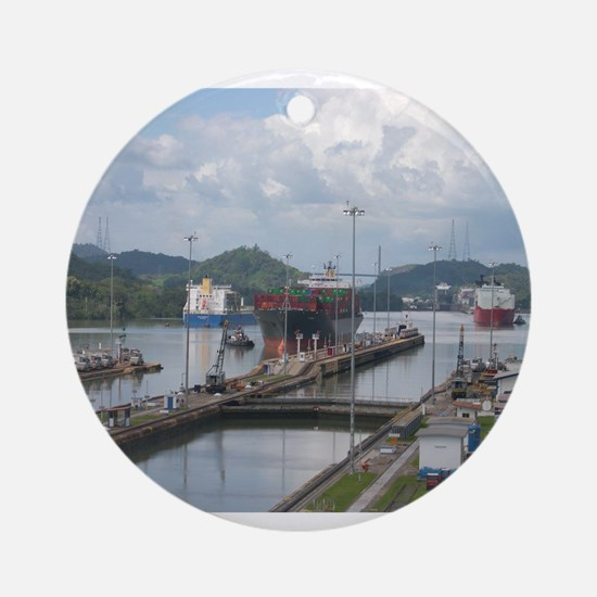 Miraflores Locks, Panama Canal Ornament (Round)