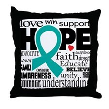Cervical Cancer Words Throw Pillow
