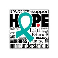 "Cervical Cancer Words Square Sticker 3"" x 3"""