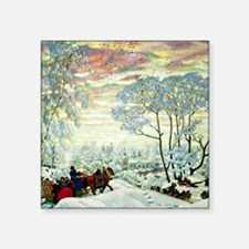 "Kustodiev: Winter, Boris Ku Square Sticker 3"" x 3"""