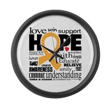 Childhood Cancer Words Large Wall Clock