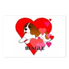 Beagle Hearts Postcards (Package of 8)