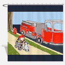 Friendly Fireman Petting Dalmatian, Fire Engine by