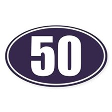 50 Blue Oval Decal