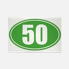 50 Green oval decal Rectangle Magnet