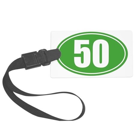 50 Green oval decal Large Luggage Tag