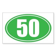 50 green oval Decal
