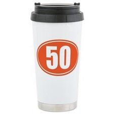 50 orange oval Travel Mug