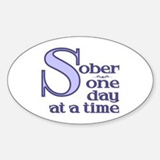Sober One Day At A Time Oval Decal