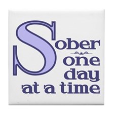 Sober One Day At A Time Tile Coaster