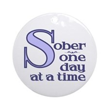 Sober One Day At A Time Ornament (Round)