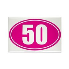 50 pink oval Rectangle Magnet