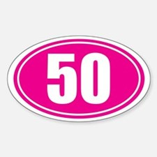 50 pink oval Decal