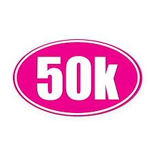 50k Pink oval Oval Car Magnet