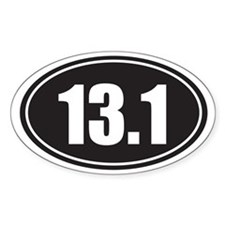 13.1 black oval Decal