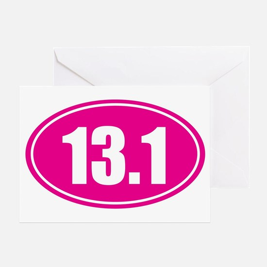 13.1 pink oval Greeting Card