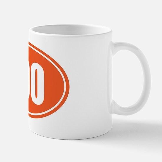 100 orange oval Mug