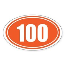 100 orange oval Decal