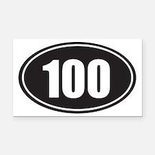 100 black oval Rectangle Car Magnet