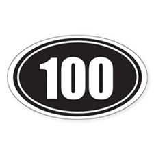 100 black oval Decal