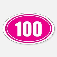 100 pink oval Decal