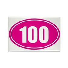 100 pink oval Rectangle Magnet
