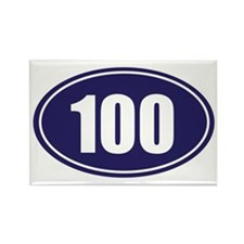 100 blue oval Rectangle Magnet