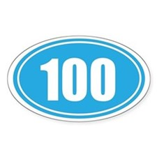 100 light blue oval Decal