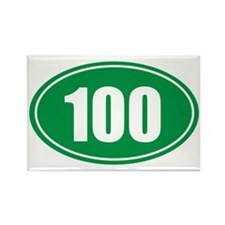 100 green oval Rectangle Magnet