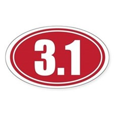 3.1 red oval Decal