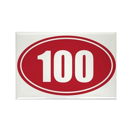 100 red oval Rectangle Magnet