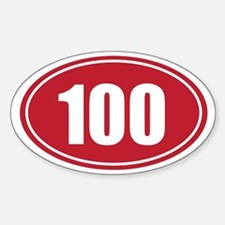 100 red oval Sticker (Oval)