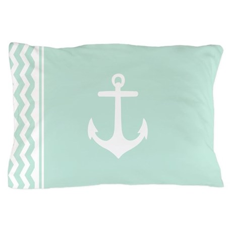 Mint Anchor Chevron Pillow Case