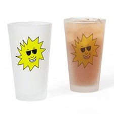 smiling sun with sunglasses Drinking Glass