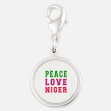 Peace Love Niger Silver Round Charm