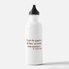 PreachTheGospelWordsBrownText1.png Water Bottle