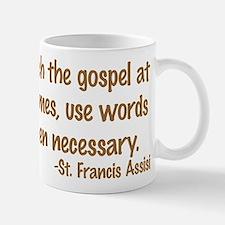 PreachTheGospelWordsBrownText1 Mugs