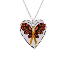 MS Heart Butterfly Necklace Heart Charm