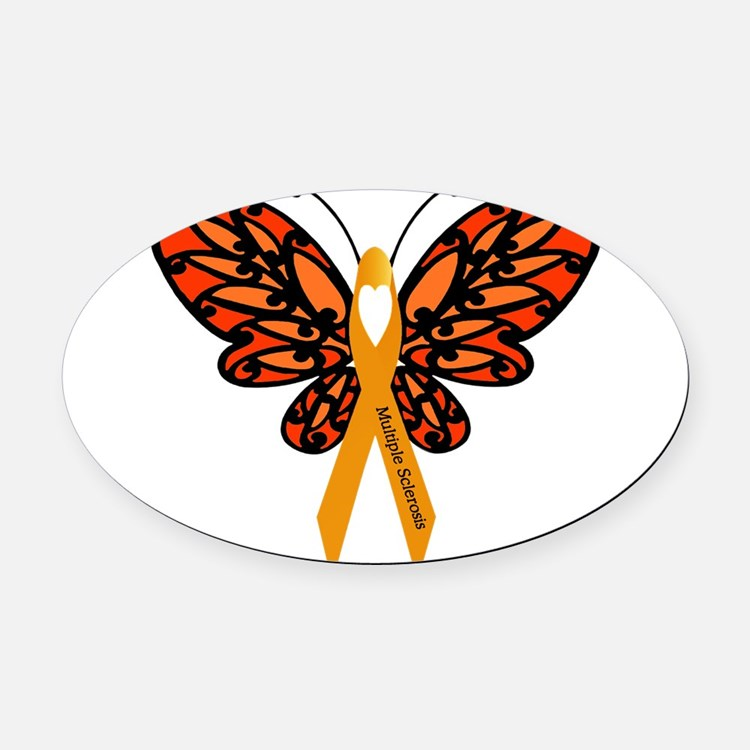 MS Heart Butterfly Oval Car Magnet