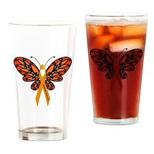 MS Heart Butterfly Drinking Glass