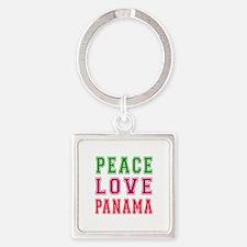 Peace Love Panama Square Keychain