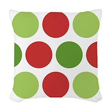 Big Christmas Polka Dots Woven Throw Pillow