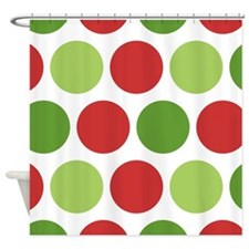 Big Christmas Polka Dots Shower Curtain