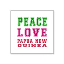 "Peace Love Papua New Guinea Square Sticker 3"" x 3"""