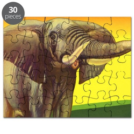 Vintage jungle animal elephant puzzle by listing store for Classic jungle house for small animals