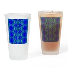 Blue Green Lacey Pattern Drinking Glass